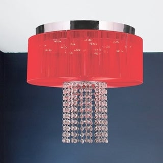 Euro Style LED Collection 6-light Chrome Finish Crystal LED Flush Mount with Red String Shade