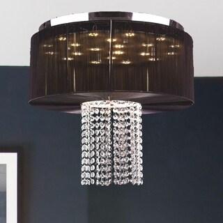 Euro Style LED Collection 9-light Chrome Finish Crystal LED Flush Mount with Black String Shade