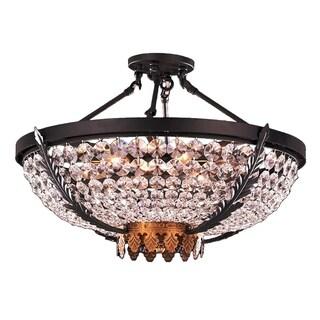 Metro Candelabra 6-light Rustic Matte Black and Gold Finish Crystal Semi-flush Ceiling Light