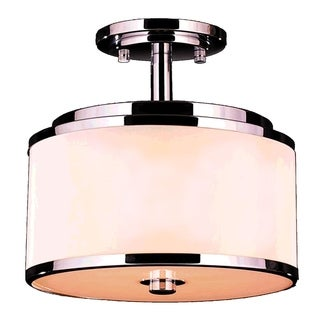 Metro Candelabra 5-light LED Flush Mount Ceiling Light with Bisque Drum Shade