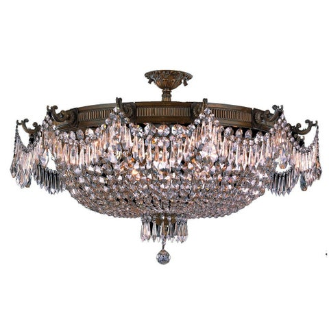 French Empire Basket Style Collection 12-light Antique Bronze Finish Crystal Basket Extra Large Semi-flush Mount Ceiling Light