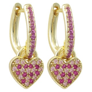 Luxiro Gold Finish Sterling Silver Lab-created Ruby Heart Earrings