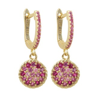 Luxiro Gold Finish Sterling Silver Lab-created Ruby Circle Earrings