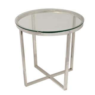 Urban Designs Round Glass Metal Accent And End Table