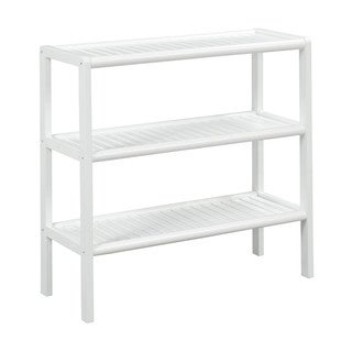 New Ridge Home Abingdon White Solid Birch Wood 3 Shelf Large Console