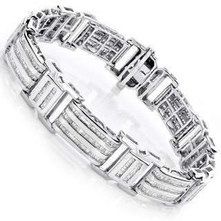 Luxurman 14K Gold 7.95ct TDW Men's Baguette Diamond Bracelet (H/I, SI/I)