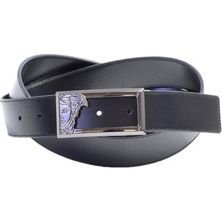 Versace Collection 200 Black Leather Half Medusa Belt