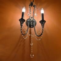 Metro Candelabra 2-light Rustic Flemish Brass Finish Crystal Wall Sconce