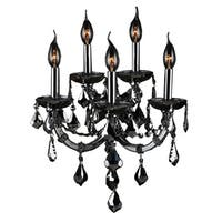 Maria Theresa Imperial 5-light Chrome Finish and Smoke Crystal Candle Wall Sconce