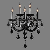 Maria Theresa Imperial 5-light Chrome Finish and Black Crystal Candle Wall Sconce