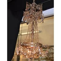 Majestic 3-light French Gold Finish and Golden Teak Crystal Royal Chandelier