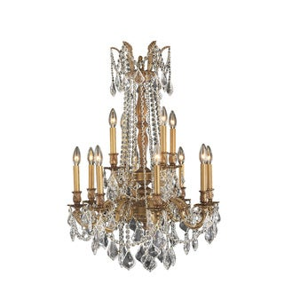 Majestic 12-light French Gold Finish Crystal Royal Chandelier Two 2 Tier