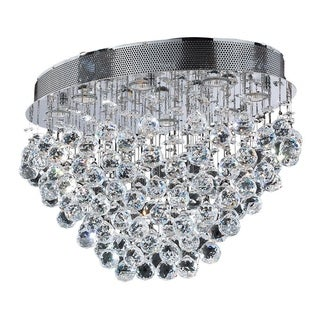 Crystal Rain Drop 8-light Polished Chrome Finish Modern Flush Mount Ceiling Light
