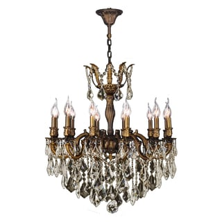 French Versailles Collection 12-light Antique Bronze Finish and Golden Teak Crystal Chandelier