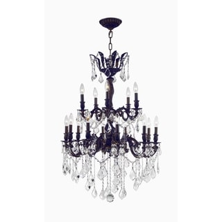 French Versailles 15-light Flemish Brass Finish Crystal Chandelier Two 2 Tier