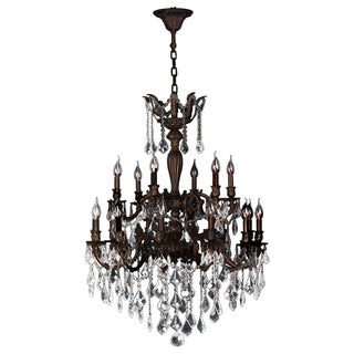 French Versailles 18 Light Flemish Brass Finish Crystal Chandelier Two 2 Tier