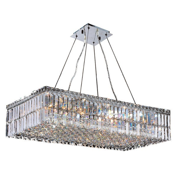 Contemporary 16 Light Chrome Finish Crystal Large Chandelier 32 Long Rectangle
