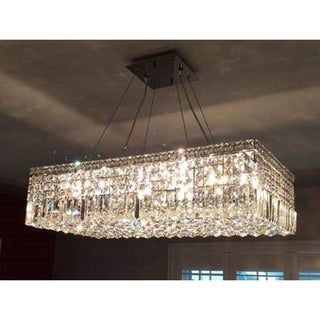Contemporary 16-light Chrome Finish and Faceted Crystal Large Chandelier 32-inch Long Rectangle