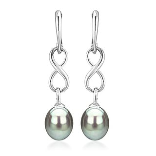 DaVonna Sterling Silver 8.5-9mm Long Shape Grey Freshwater Pearl Infinity Dangle Earrings