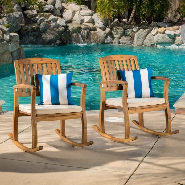 Shop Lucca Outdoor Acacia Wood Rocking Chair With Cushion Set Of 2