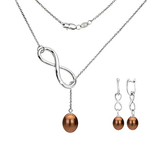DaVonna Sterling Silver Brown Pearl Pendant Infinity Lariat Necklaces and Dangle Earring Jewelry Set