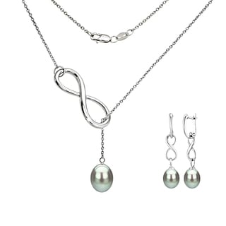 DaVonna Sterling Silver Grey Pearl Pendant Infinity Lariat Necklaces and Dangle Earring Jewelry Set