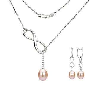 DaVonna Sterling Silver Pink Pearl Pendant Infinity Lariat Necklaces and Dangle Earring Jewelry Set