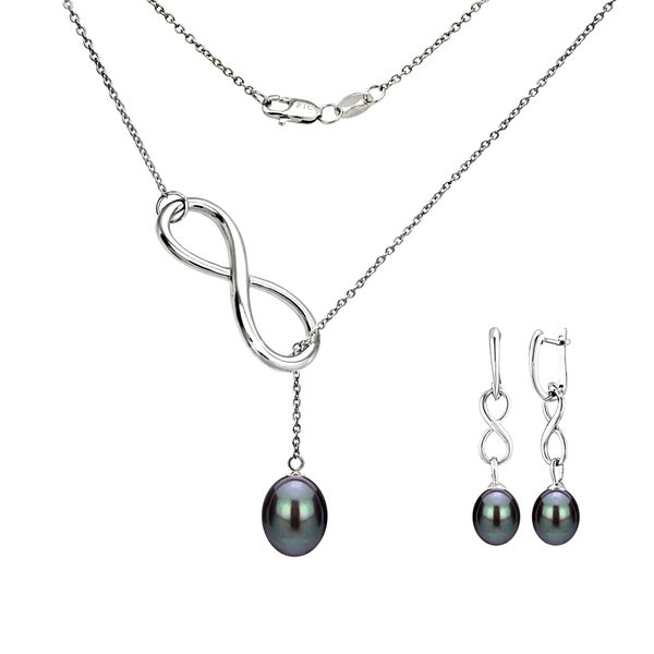4aa93a1332040 Shop DaVonna Sterling Silver pearl Pendant Infinity Lariat Necklaces ...