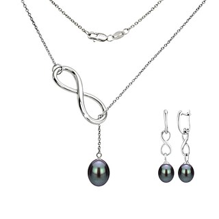 DaVonna Sterling Silver Black Pearl Pendant Infinity Lariat Necklaces and Dangle Earring Jewelry Set