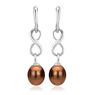DaVonna Sterling Silver 8.5-9mm Long Shape Brown Freshwater Pearl Infinity Dangle Earrings