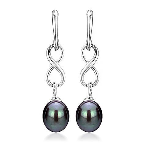 DaVonna Sterling Silver 8.5-9mm Long Shape Black Freshwater Pearl Infinity Dangle Earrings