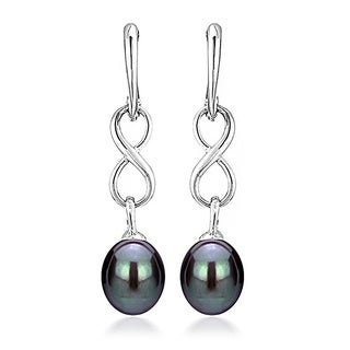 DaVonna Sterling Silver 8.5-9mm Long Shape Black Freshwater Pearl Infinity Dangle Earrings