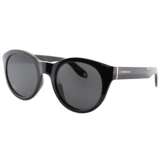 Givenchy GV 7003 D28 Shiny Black Plastic Round Grey Lens Sunglasses