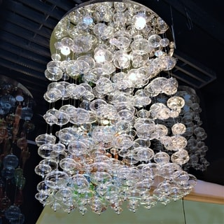 Floating Bubbles 9-light Chrome Finish Floating Effervescence Bubble Blown Glass Flush Mount Ceiling Light