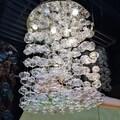 Floating Bubbles 9-light Chrome Finish Floating Effervescence Bubble Blown Glass Flush Mount Ceiling Light