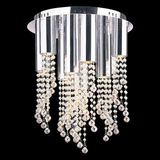 Crystal Rain 10-light Halogen Polished Chrome Finish Modern Flush Mount Ceiling Light