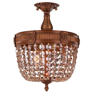 French Empire Basket Style Collection 3-light French Gold Finish and Golden Teak Crystal Basket Semi-flush Mount Ceiling Light