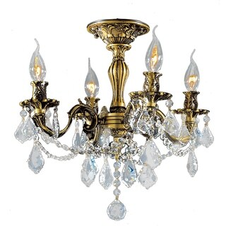 French Palace 4-light Antique Bronze Finish and Clear Crystal Semi-flush Mount Ceiling Light