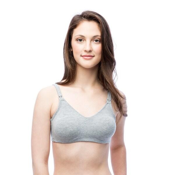 Valamont Women's Black/Grey/White Cotton/Spandex Wireless Maternity Bra