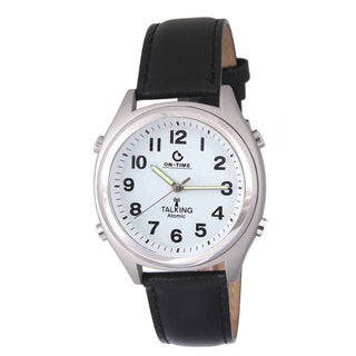 Atomic Black Leather Men's Talking Black Watch