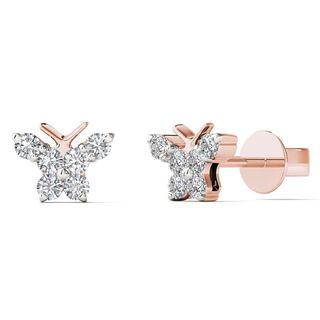 AALILLY 10k Rose Gold 1/6ct TDW Diamond Cute Butterfly Stud Earrings