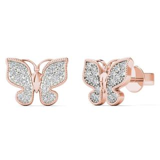 AALILLY 10k Rose Gold 1/10ct TDW Diamond Stunning Butterfly Stud Earrings