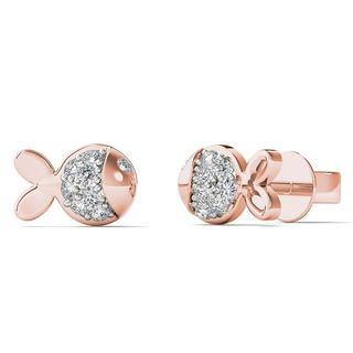10k Rose Gold Diamond Accent Dainty Fish Stud Earrings