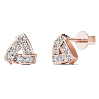 AALILLY 10k Rose Gold Diamond Accent Triangle Stud Earrings (H-I, I1-I2)