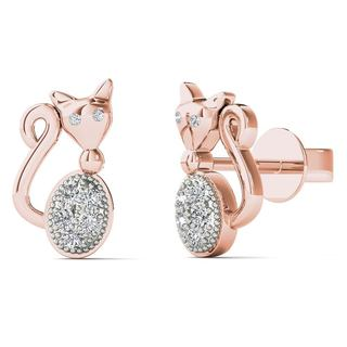 AALILLY 10k Rose Gold Diamond Accent Cute Cat Stud Earrings