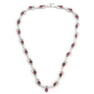 De Buman 925 Silver 19.19ctw Natural Ruby, Amethyst or Blue Zircon Necklace