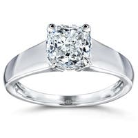 Annello by Kobelli 14k White Gold 1ct Cushion Diamond Solitaire Engagement Ring