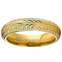 Oliveti Titanium Yellow Goldplated Cubic Zirconia Crested Wheat Eternity Ring
