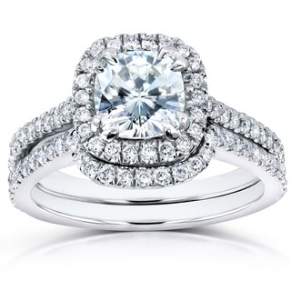 Annello 14k White Gold 1 1/10ct Forever One Cushion Moissanite and 1/2ct TDW Diamond Halo Bridal Ring 2-Piece Set (G-H, I1-I2)