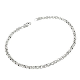 Sterling Silver Italian 3.5mm Hollow Round Box Link 925 Rhodium Bracelet Chain 9""